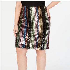 NWT INC plus size rainbow sequined pencil skirt.